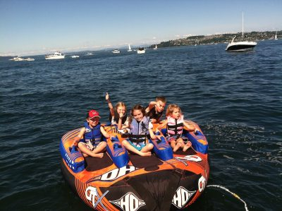 Children on a boat in the Puget Sound