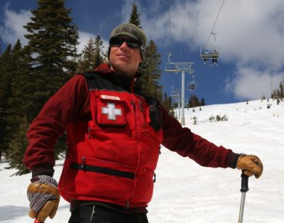 Ski medic on a mountain