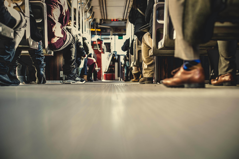 Metro transit buses with passengers