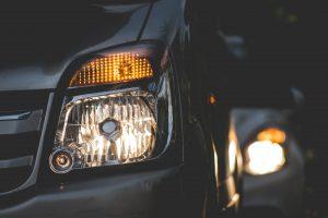 Car headlights in traffic