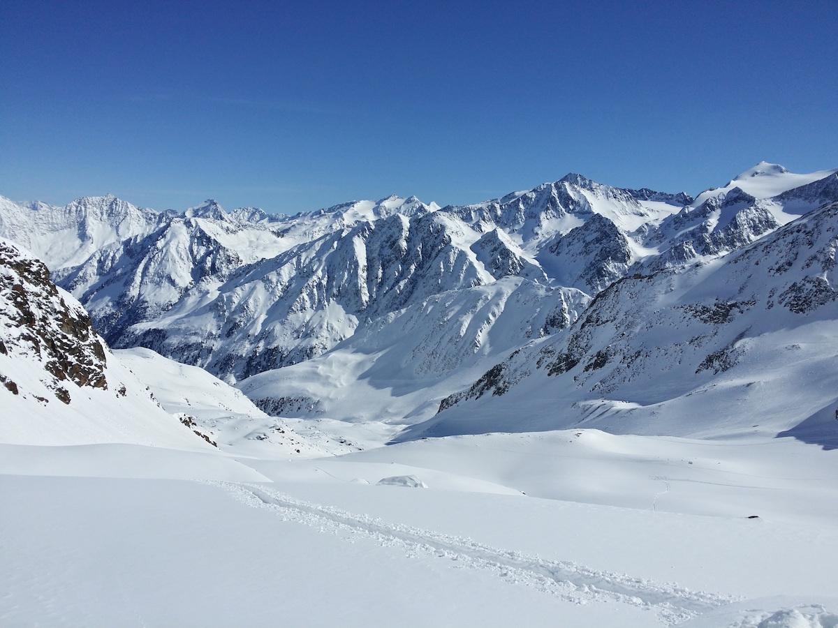 Snowy backcountry mountain