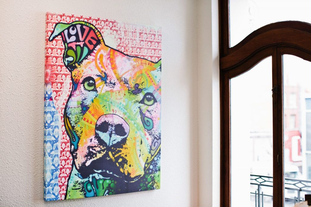 Dog art in EPIC attorney Gemma Zanowski's office