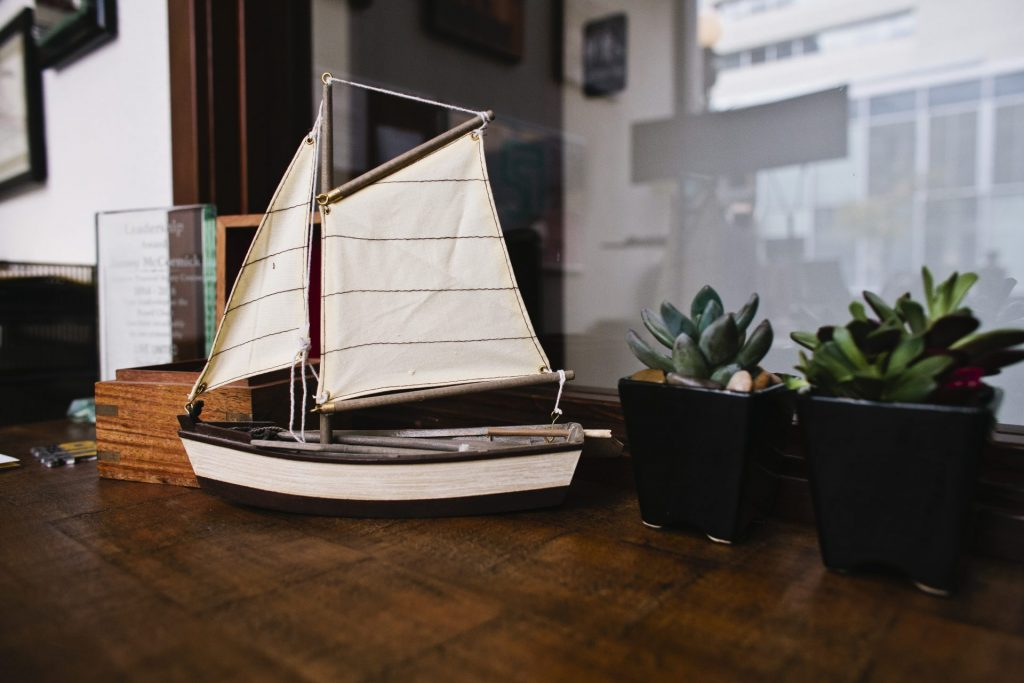 Miniature sailboat in James McCormick's office