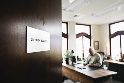 The door sign to Stephen Bulzomi's office