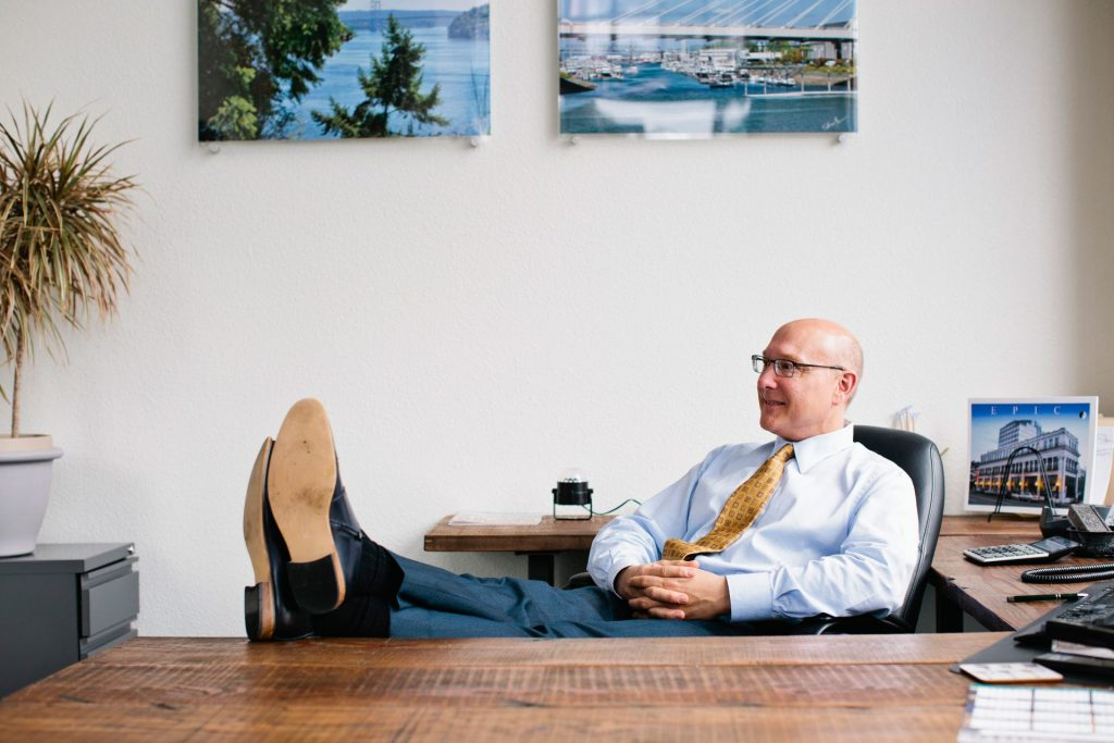 EPIC attorney John Christensen relaxing at his desk