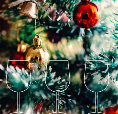 Christmas tree with wine glasses graphic