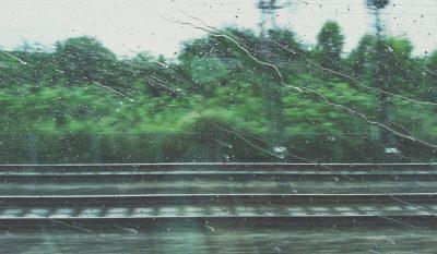 Washington train tracks in the rain
