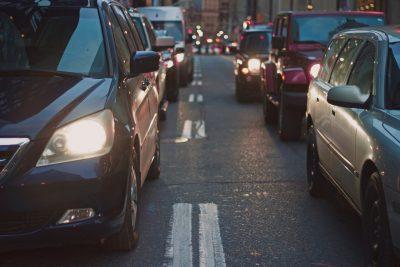 Cars on a busy city street