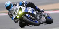 Sport bike rider in a race