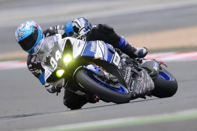 Sport bike rider in a race