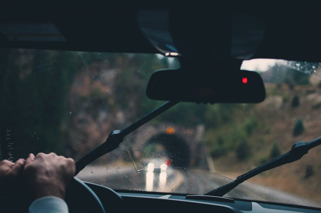 Automobile driving in the woods