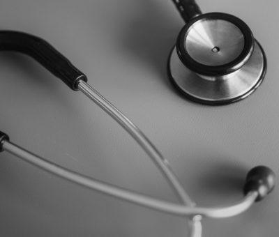 Black and white photo of medical stethoscope