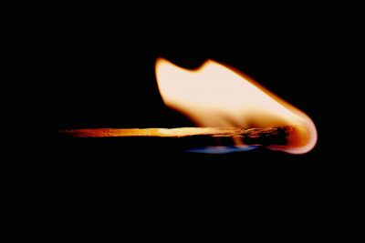 Lit matchstick can cause burn injuries